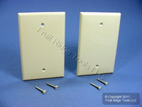 2 Leviton Ivory UNBREAKABLE Midway Blank Wallplates Thermoplastic Box Mount Covers PJ13-I