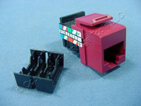 Leviton Red Keyed Cat 3 Snap-In Quickport Data Voice Jack Cat3 RJ45 Telephone 41108-KR3