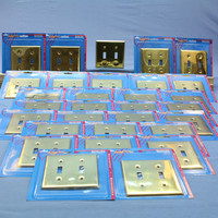 30 Leviton Polished Brass 2-Gang Toggle Switch Cover Wall Plates Switchplates 89709