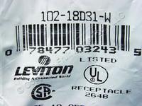 Leviton White 18 Series Detachable Female Cam Plug Set Screw  235A 600V 18D31-W