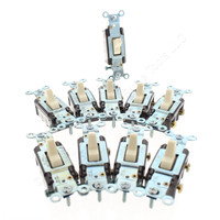 10 Eagle Almond COMMERCIAL Single Pole Quiet Toggle Light Switches 15A CS115A