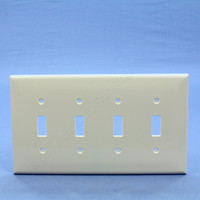 Leviton Light Almond 4-Gang MIDWAY UNBREAKABLE Thermoplastic Toggle Switch Wallplate Cover PJ4-T