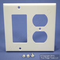 Leviton Decora White GFCI & Duplex Receptacle Wallplate Outlet GFI Cover 80455-W