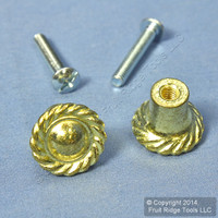 "2 National Hardware Brass Finish Zinc Die-Cast 3/4"" Decoratortive Knobs V1862 N240-796"