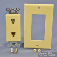 Leviton Ivory Decora DUAL Telephone Wallplate DUPLEX RJ11 RJ14 6P4C Jack C2447-I