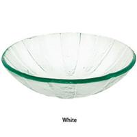"Decolav 17"" White Pinwheel Artistic Non-Tempered Glass Vanity Vessel Sink Bowl"