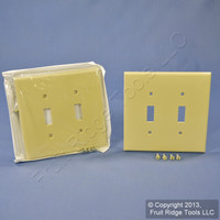 2 Leviton Ivory 2-Gang Midway UNBREAKABLE Toggle Switch Cover Wallplates PJ2-I