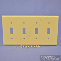Leviton Ivory Standard 4-Gang Toggle Light Switch Cover Plastic Wallplate 86012