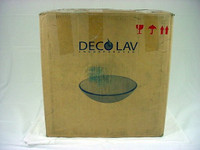 Decolav Green Etched Art Glass Vessel Sink Bathroom Vanity Bowl 1020-GR