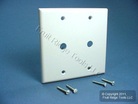 "Leviton 2-Gang White Phone Cable Wallplate Telephone .406"" Box Mount 88062"