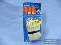 Leviton Ivory 25 Ft Flat Phone Cord Wire Telephone Line 6-Wire Modular C2685-25I