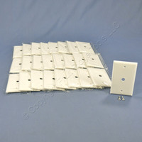 "25 Cooper White Telephone Coaxial Cable Thermoset Wallplate Covers .375"" Hole 2128W"