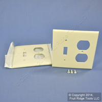 2 Leviton Almond UNBREAKABLE Switch/Outlet Wallplate Receptacle Cover Switchplates 80705-A