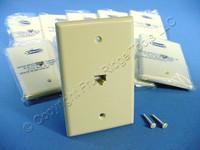 10 Leviton Ivory LARGE Phone Jack Telephone Wall Plates 8-Position 8-Wire 40580-I