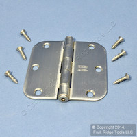 "National Hardware #V512R5/8 Satin Nickel Finish Steel 3-1/2"" Removable Pin Cabinet Door Hinge N305-268"