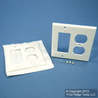 2 New Leviton Decora White GFCI & Receptacle Wallplate Outlet GFI Covers 80455-W