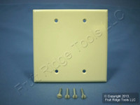 New Leviton Almond 2-Gang Blank MIDWAY Plastic Box-Mount Wallplate Cover 80525-A