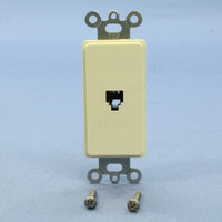 New Leviton Almond Decora Phone Jack Telephone Wall Plate 6-Position 4-Conductor Type 625 Screw Terminal 40649-A