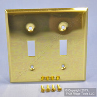Leviton Polished Brass 2-Gang Toggle Switch Cover Wall Plate Switchplate 89709