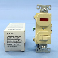 New Cooper Electric Ivory Pilot Light Toggle Switch Single Pole 15A 277V Boxed