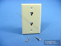 Leviton Ivory DUPLEX Phone Jack Wallplate 6-Wire Telephone C2676-I