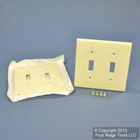 2 Leviton Almond UNBREAKABLE 2-Gang Switch Cover Wallplates Switchplate 80709-A