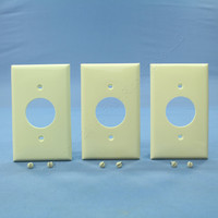 "3 Leviton Almond 1.406"" UNBREAKABLE Receptacle Wallplates Outlet Covers 80704-A"