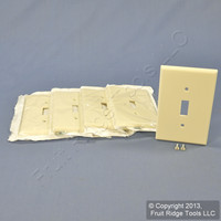 5 Leviton Almond MIDWAY Toggle Switch Cover Wallplate 1-Gang Plastic Switchplates 80501-A