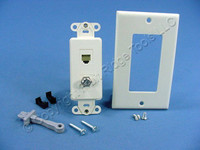 Leviton Almond Decora Quickport CATV Cable & Phone Jack Wallplate F-Type 41658-A