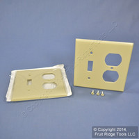 2 Leviton Ivory Switch Plate Receptacle Outlet Cover Wallplates Switchplates 86005