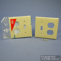 2 Leviton Ivory UNBREAKABLE Switch/Outlet Wallplate Receptacle Cover Switchplates 80705-I