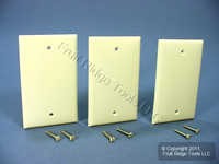 3 Leviton Almond Unbreakable 1G Blank Cover Box Mount Nylon Wallplates 80714-A