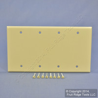 New Leviton Ivory Residential Grade 4-Gang Blank Cover Box Mount Wallplate 86064