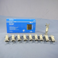 10 Leviton Residential Grade Almond Single Pole Toggle Wall Light Switches 15A 120V 1451-2AM