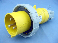 Leviton Yellow Watertight Industrial Pin & Sleeve Plug 30A 125VAC IEC 309 330P4W