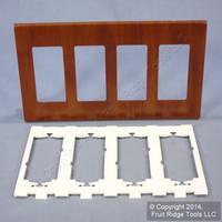 Leviton Walnut Woodgrain 4-Gang Decora Screwless Wallplate Cover GFCI GFI D0312-WAL