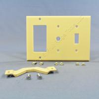 Leviton Ivory 3-Gang Combination Decora Toggle Phone Cable Wallplate Cover GFI GFCI 80442-I