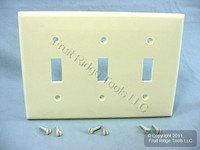 Leviton Unbreakable Almond 3-Gang Switch Cover Wall Plate Switchplate 80711-A