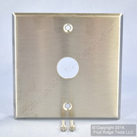 "Leviton NON-MAGNETIC Stainless Steel Phone Cable Jack Outlet 2-Gang Wallplate .625"" 90001-S3-33"