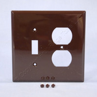Cooper Brown Mid-Size UNBREAKABLE Toggle Switch Duplex Outlet Cover Wallplate PJ18B