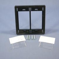 Leviton Black 2-Gang 3-Unit MOS Modular Insert Wallplate Cover Frame 41290-DME