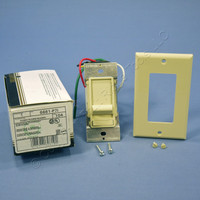 Leviton Ivory Decora Slide Dimmer Switch Fluorescent 2-12 Bulbs Single Pole Preset 480W 277V 6661-P7I