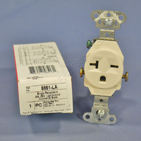 New Pass and Seymour Light Almond COMMERCIAL Single Outlet Receptacle NEMA 6-20R 20A 250V 5851-LA