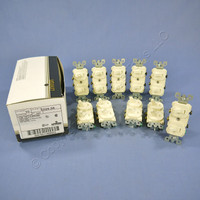 10 Leviton Almond Double Wall Light Switches Duplex Toggle 15A Single Pole 5224-2A