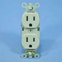 Leviton Gray INDUSTRIAL Grade SLIM BODY Straight Blade Receptacle Duplex Outlet NEMA 5-15R 15A 125V 5262-SGY