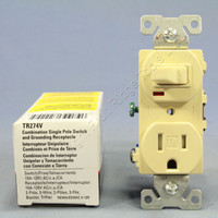 Cooper Ivory TAMPER RESISTANT COMMERCIAL Wall Toggle Light Switch Outlet Receptacle 15A TR274V