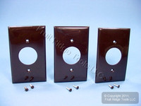 "3 New Leviton Brown 1.406"" UNBREAKABLE Receptacle Wallplates Outlet Covers 80704"