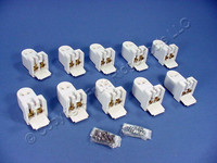 10 Leviton White High Output T8 T12 Fluorescent Lamp Holders T-8 T-12 Light Sockets Horizontal Fixed End 465