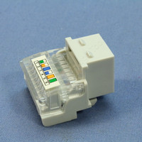 Cooper ASPIRE White Satin (Pale Gray) RJ12 Cat3 Snap-In Modular Voice Jack 110 Style 6-Position 9556WS