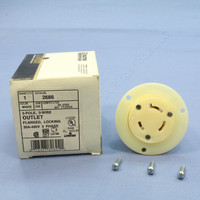 Leviton L12-30 Locking Flanged Outlet Receptacle Twist Turn Lock Plug Base NEMA L12-30R 30A 480V 3Ø 2686